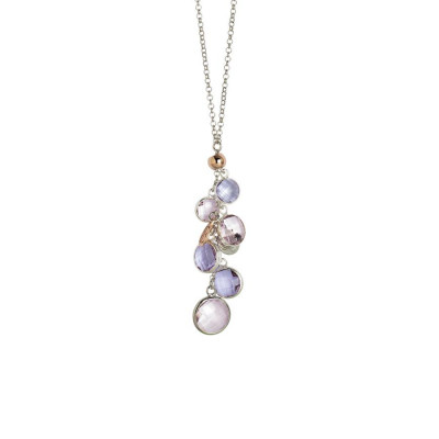 Collana bicolor con cristalli light amethyst e light pink