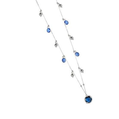 Collana con cristalli sapphire e blue london