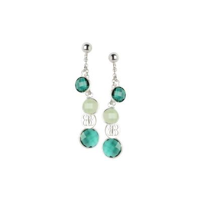 Orecchini pendenti con cristalli green e light green