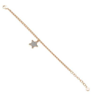 Bracciale con charm a stella placcata oro rosa