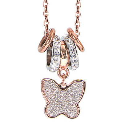Collana placcata oro rosa e pendente glitterato a farfalla
