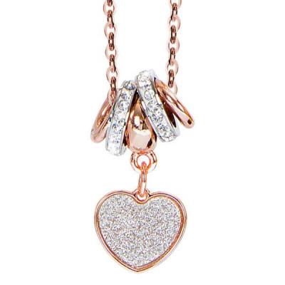 Collana placcata oro rosa e pendente glitterato a cuore