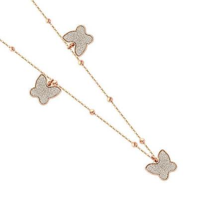 Collana con farfalle glitterate placcate oro rosa