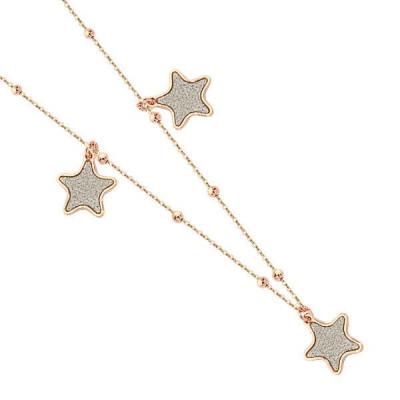 Collana con stelle glitterate placcate oro rosa