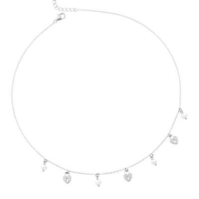 Collana con cuori di zirconi e freshwater pearls
