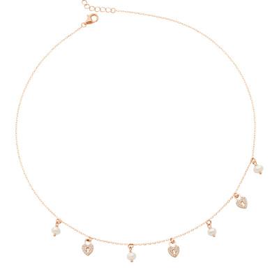 Collana placcata oro rosa con cuori di zirconi e freshwater pearls