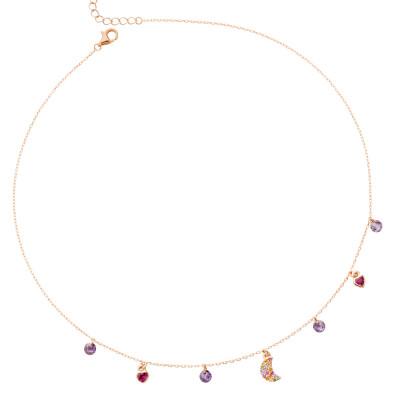 Collana placcata oro rosa con mezzaluna in zirconi multicolor