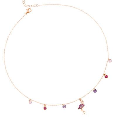 Collana placcata oro rosa con fenicottero di zirconi
