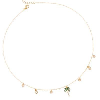 Collana placcata oro giallo con palma di zirconi