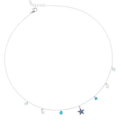 Collana con stella di zirconi celesti