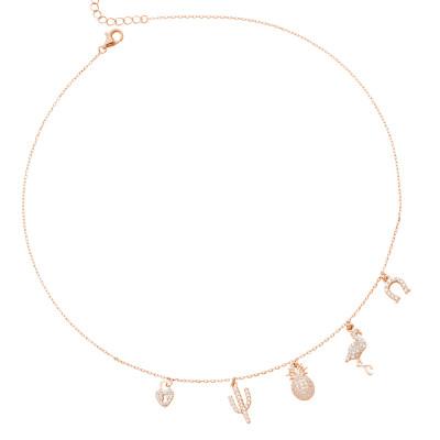 Collana placcata oro rosa con pendenti di ispirazione esotica in zirconi