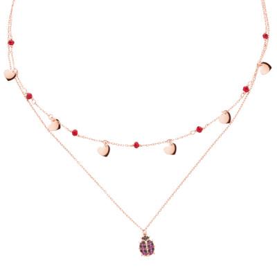 Collana doppio filo placcata oro rosa con zirconi e coccinella
