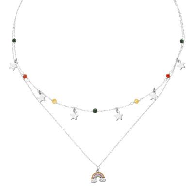 Collana doppio filo con zirconi e arcobaleno