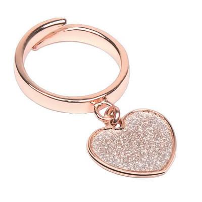 Anello regolabile placcato oro rosa con cuore glitterato