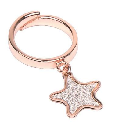 Anello regolabile placcato oro rosa con stella glitterata