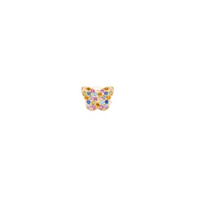 Orecchino con farfalla di zirconi multicolor
