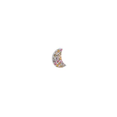 Orecchino con mezzaluna di zirconi multicolor