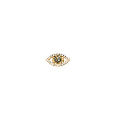 Orecchino placcato oro giallo con occhio di Horus in zirconi
