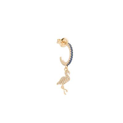 Orecchino mezzaluna con fenicottero di zirconi bianchi