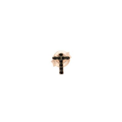 Orecchino croce placcato oro rosa con zirconi