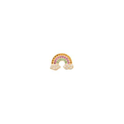 Orecchino placcato oro giallo con arcobaleno di zirconi multicolor