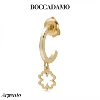 Mono orecchino placcato oro giallo con quadrifoglio traforato
