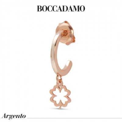 Mono orecchino placcato oro rosa con quadrifoglio traforato