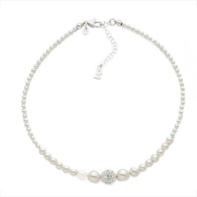 Collana con filo di perle Swarovski e boule centrale
