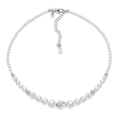 Girocollo in argento con perle e strass