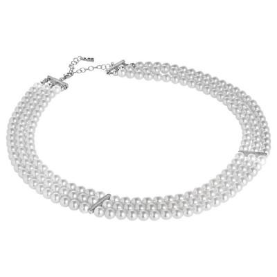 Collana multifilo di perle Swarovski con inserti in argento e zirconi