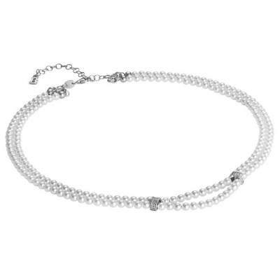 Collana due fili di perle Swarovski con passanti in argento e zirconi