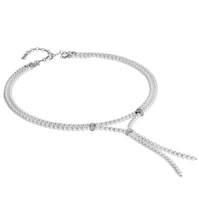 Collana a sciarpina con perle Swarovski, argento e zirconi