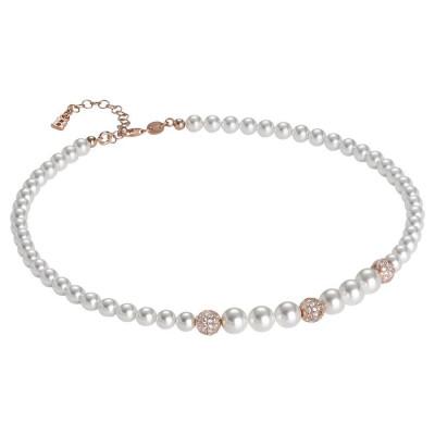 Collana rosata con perle Swarovski degradè e zirconi