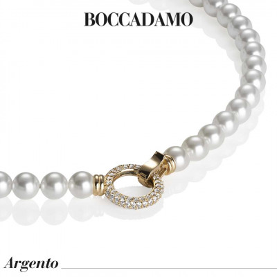 Collana placcata oro giallo con filo di perle e chiusura in zirconi