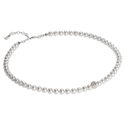 Collana di perle Swarovski con centrale satinato in argento