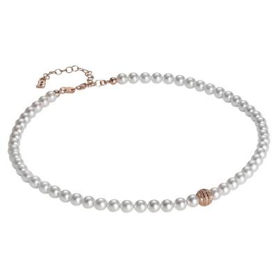 Collana di perle Swarovski con centrale satinato in argento rosato