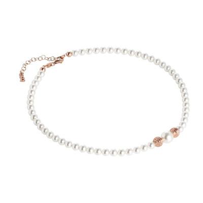 Collana rosata con perle Swarovski e sfere diamantate