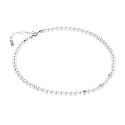 Collana con perle Swarovski e sfere diamantate effetto ondulato