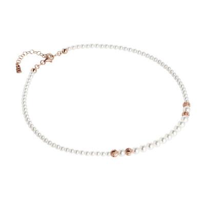 Collana rosata con perle Swarovski degradè e passanti diamantati