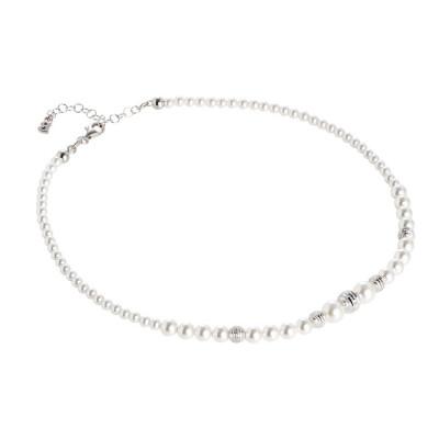 Collana con filo di perle Swarovski e passanti in argento diamantato