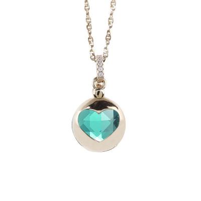 Collana color oro con cuore apribile e cristallo verde chiaro