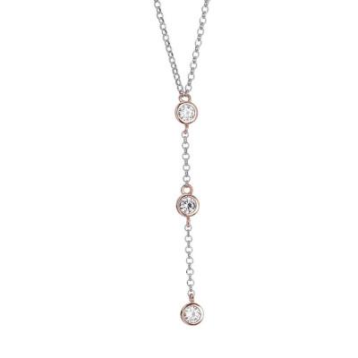 Collana con cravattino placcato oro rosa di zirconi taglio diamante