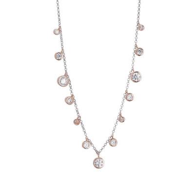 Collana con pendenti degradè placcati oro rosa di zirconi taglio diamante