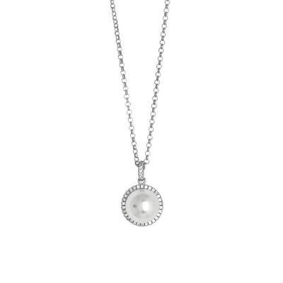 Collana con perla Swarovski su pavè di zirconi