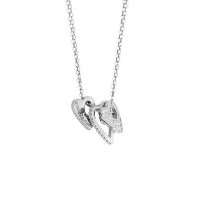 Collana doppio filo con elementi a cuore e zirconi