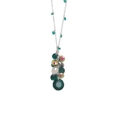 Collana con zirconi smeraldo e Swarovski a grappolo dalle sfumature verdi