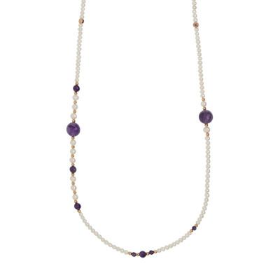 Collana lunga con perle naturali e ametista sfaccettata.