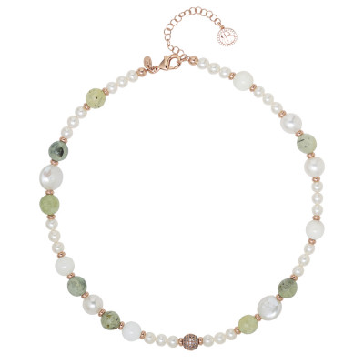 Collana con perle naturali, garnet e agata bianca