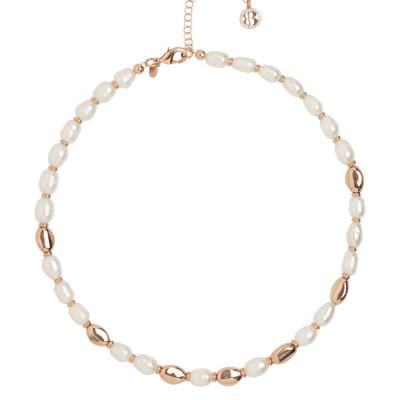Collana placcata oro rosa con perle naturali ed intercalari in argento