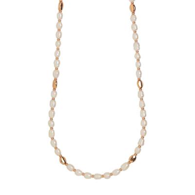 Collana lunga placcata oro rosa con perle naturali barocche ed intercalari in argento